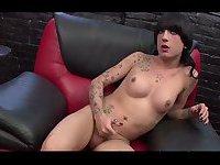 Tattooed tranny chick solo