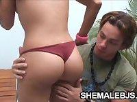 Fernandinha - Small Tits Shemale Sucking A Muscular Cock