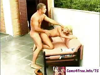 Blonde shemale fucked hard outdoors