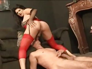 Brittney in red lingerie gets cum blasted