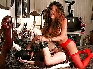 Sexy TS in lingerie pounds her slave in the ass