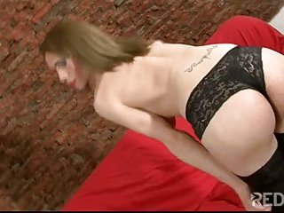 Shemale cutie in stockings drilled