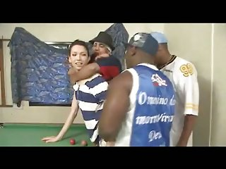 teen TS banged on pooltable