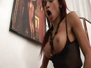 Busty tranny and chick play with dudes tool
