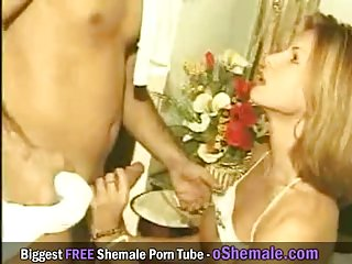 Vintage threesome with two shemales is amazing