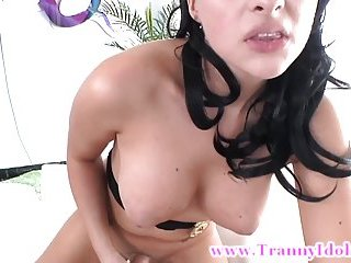 Shemale gets rimmed till she cums by her shemale
