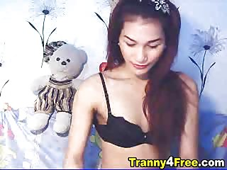Tranny Strips and Masturbates