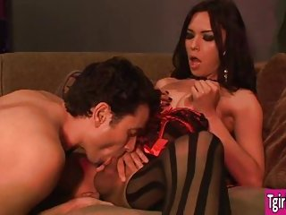 Tgirl Nelly rides on guy his hard dick until he blows his load