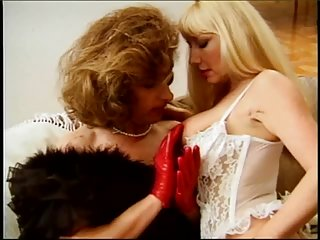 Milf tart and her TS lover in lingerie twosome