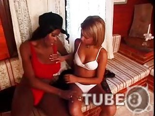 Petite lover tart for a busty black Tgirl