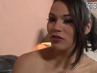 TS Gaby B sucks cock and is anal banged
