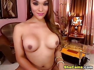 Gorgeous busty shemale plays with her big cock