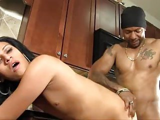 Kitchen sex with a flatchested shemale