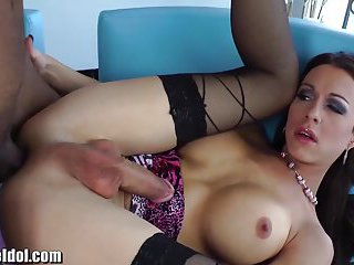 Busty brunette slut gets big pole in ass