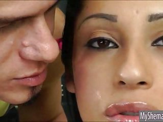 Horny shemale Yasmin Pires anal screwed