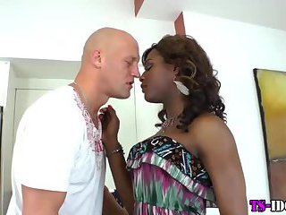Ebony shemale gets dick sucked