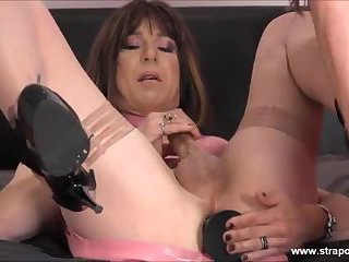Crossdressing slut wanks her big cock as hot femdom strapon jane fucks her tight ass