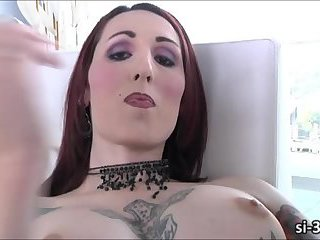 Tattooed shemale hottie Brittany St. Jordan toys ass and masturbates