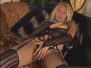 Hot blonde strokes, unloads huge shot of cum